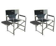 Quest Surrey Directors Camping Chair & Side Table Black/Grey (Twin Pack)